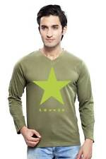 Clifton Mens Star Printed T-Shirts F/S V-Neck-Olive-Green Star