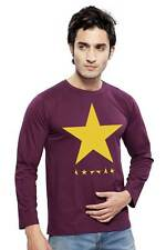 Clifton Mens Star Printed T-Shirts F/S R-Neck-Wine-Yellow Star