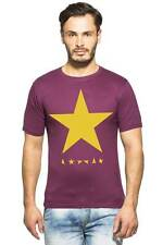 Clifton Mens Star Printed T-Shirts H/S R-Neck-Wine-Yellow Star
