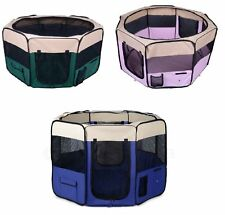 Portable 8 Panels Soft Foldable Pet Playpen For Dog Cat Puppy Blue Pink Green UK