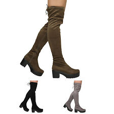 NEW WOMENS LADIES ZIP UP BLOCK HEEL PLATFORM OVER THE KNEE STRETCH LACE BOOTS