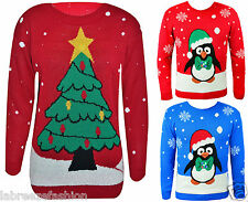Unisex Christmas Jumpers Lights Knitted Xmas Novelty Sweater Red Blue Xmas Tree