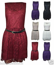 NEW LADIES WOMENS BELTED LACE TOP SKATER SLEEVELESS DRESS UK SIZE 8 10 12 14