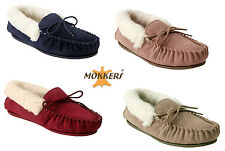 WOMENS LADIES GENUINE SUEDE LEATHER MOCCASINS BRITISH MADE WOOL LINING SLIPPERS