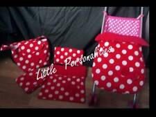 red minnie mouse spot doll pram cot blanket pillow stayput blanket changing mat