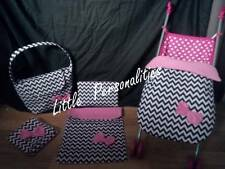 black white chevron doll pram cot bedding stayput blanket changing bag or mat