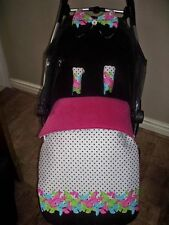 white black pink butterfly flower baby pram stay put blanket/footmuff or blanket
