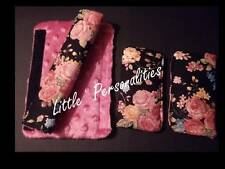 black pink rose cotton fleece baby pram/buggy/car seat harness strap cover pads