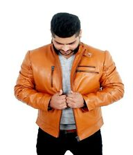 V4M Men's Tan Maleno  Biker  Leather Jacket( 100% Genuine Sheep Leather)