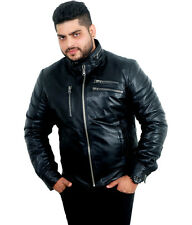 V4M Men's Maleno Biker Real Leather Jacket( 100% GENUINE SHEEP LEATHER)