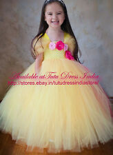 YELLOW TUTU DRESS PRINCESS BELLE FOR GIRL INFANTS - BIRTHDAY, PARTY