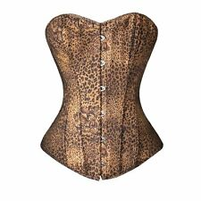 Sexy Corset Lady Girl Boned Clubwear Bustier Basques Lingerie Sets Sexy Leopard
