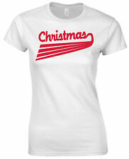 Christmas Shining Rays Seasonal Greeting Festive Party Red Slogan Womens T shirt