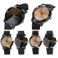 CURVED GLASS DIAL MENS ANALOG DRESS FORMAL ELEGANT STYLE LEATHER WRIST WATCH