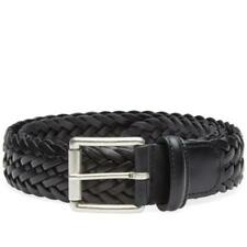 New Anderson's Woven Leather Belt - Black
