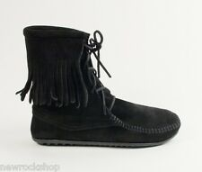Minnetonka Tramper Boots 429 Women'S Ankle High Boot Hardsole Black Suede