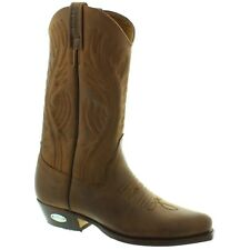 Loblan 194 Brown Waxy Leather Cowboy Boots Hand Made Classic Men Western 0194