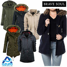 Ladies Brave Soul Parka Parker Padded Lined Winter Jacket Faux Fur Hooded Coat