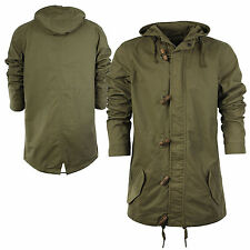 Mens Parka Parker Coat Jacket Cotton Fishtail Army MA1 Khaki Hooded Sizes S-XL