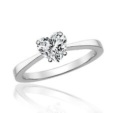 Silver Dew 925 Sterling Silver Rhodium Plated Heart Valentine Solitaire Ring