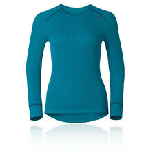 Odlo Womens Blue Crew Neck Long Sleeve Warm Running Fitness Sports Top