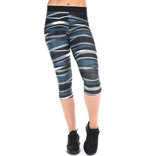 Pure Lime Womens Blue Black Running Fitness Capri Tights Bottoms Pants