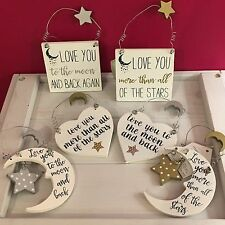 Love you to the moon & back.Love you more than all the stars hanging sign. Gift