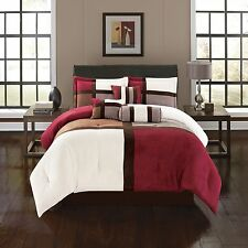 luxurious 7 Piece Burgundy Alejandra Micro Suede Soft Bed in a Bag Comforter Set