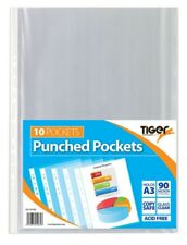 Pack of 10 A3 Portrait Punched Pockets (90 micron) - Ring Binder Sleeves Wallets