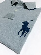 Polo Ralph Lauren Men's Polo Shirt Custom Fit Grey Marl Sh/Sleeve Big Pony
