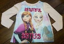 New Girls Disney Frozen Beautiful Sisters Long Sleeved Top T Shirt Age 3-8 Years