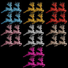 Pack of 4 Glitter Reindeer Christmas Tree Pendant Decorations (Various Colours)