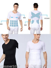 UK Mens Flat Chest Waist Shaper Abdominal Torso Toner Top Shirt for Man Boobs ZT