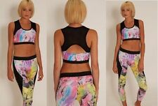 NEW Ladies Active Wear Gym Yoga Running Outfit Leggings & Top Size UK 10 12 14