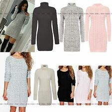 NEW WOMENS LADIES CABLE KNITTED LONG SLEEVE POLO ROLL NECK STRETCH JUMPER DRESS