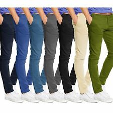 Mens Chino Trousers Slim Fit Stallion Cotton Jeans Casual Pants Designer New All