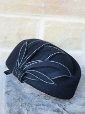 Vintage Style 1940's 60s Black 100% Wool Felt Hat With Petal Trims