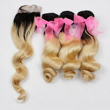 Luxury Loose Wave Peruvian Blonde Dark Roots Ombre Virgin Human Hair + Closure