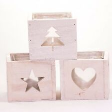 White wooden tealight holder cube with glass insert, Christmas tree/star/heart -