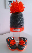 HAND-MADE BABY CROCHET TRAINERS AND HAT GREY-ORANGE