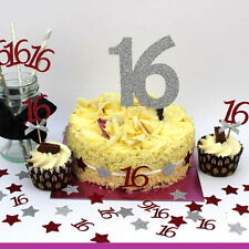 16th Birthday Party Accessories - Sweet 16 Party Cake Topper and Paper Straws