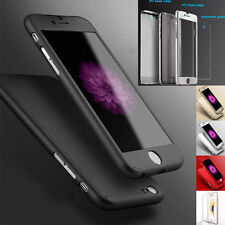 Latest Hybrid 360° Hard Ultra thin Case iPhone 6 6S + Tempered Glass Cover