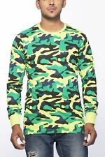 Clifton Mens Army T-Shirts Full Sleeve R-Neck-Lime Green