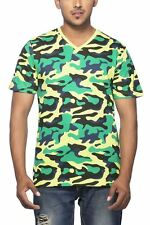 Clifton Mens Army T-Shirts Half Sleeve V-Neck-Lime Green