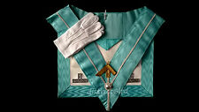 masonic regalia-CRAFT PAST MASTER (WM) APRON PACKAGE (APRON+COLLAR+JEWEL+GLOVES)