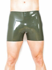 Honour Men's Kinky Seamed Latex Rubber Boxer Shorts Underwear in Black Fetish