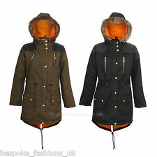 PKR-255 Ladies Women PU Winter Fur Hood Pocket Long Parka Coat Jacket Size LARGE
