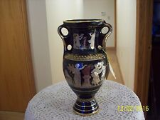 Olvmpia Greece Black Venetian Greek Goddess 24 Carat Gold Double Handled Vase