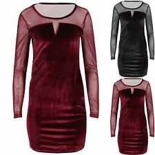Ladies Mesh Insert Long Sleeve Bodycon Womens Velvet Fabric Velour Mini Dress
