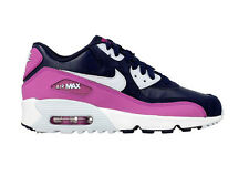 Nike Air Max 90 Leather GS Sneakers Blu Woman 833376-402 Scarpa Donna Scarpe New